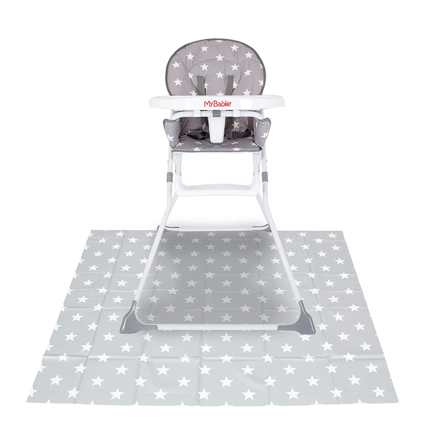 My B Grey Stars Highchair Splash Mat