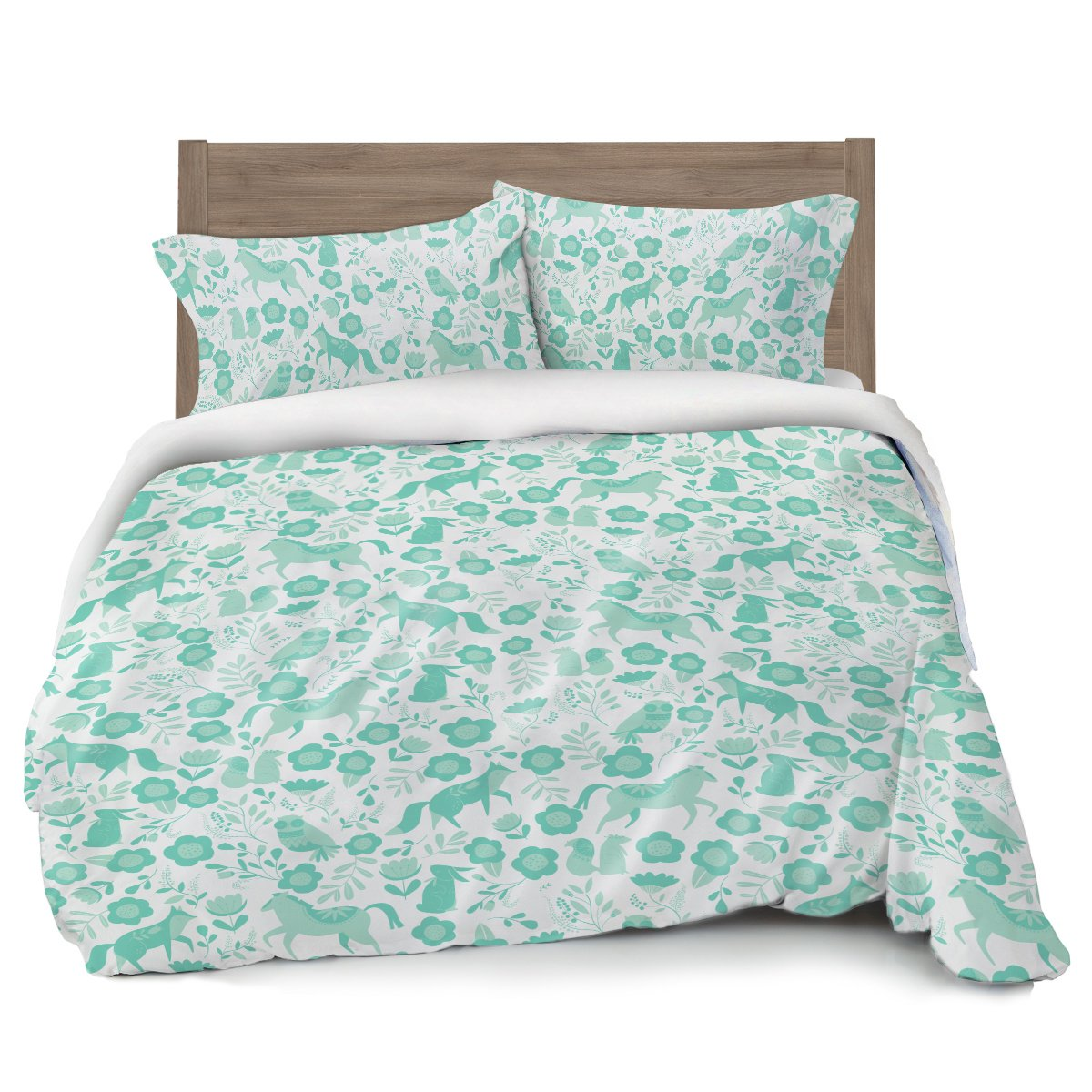 Where the Polka Dots Roam Seafoam Green Folktale Forest Animals Duvet Cover Full/Queen Bedding, White with Teal Woodland Creatures