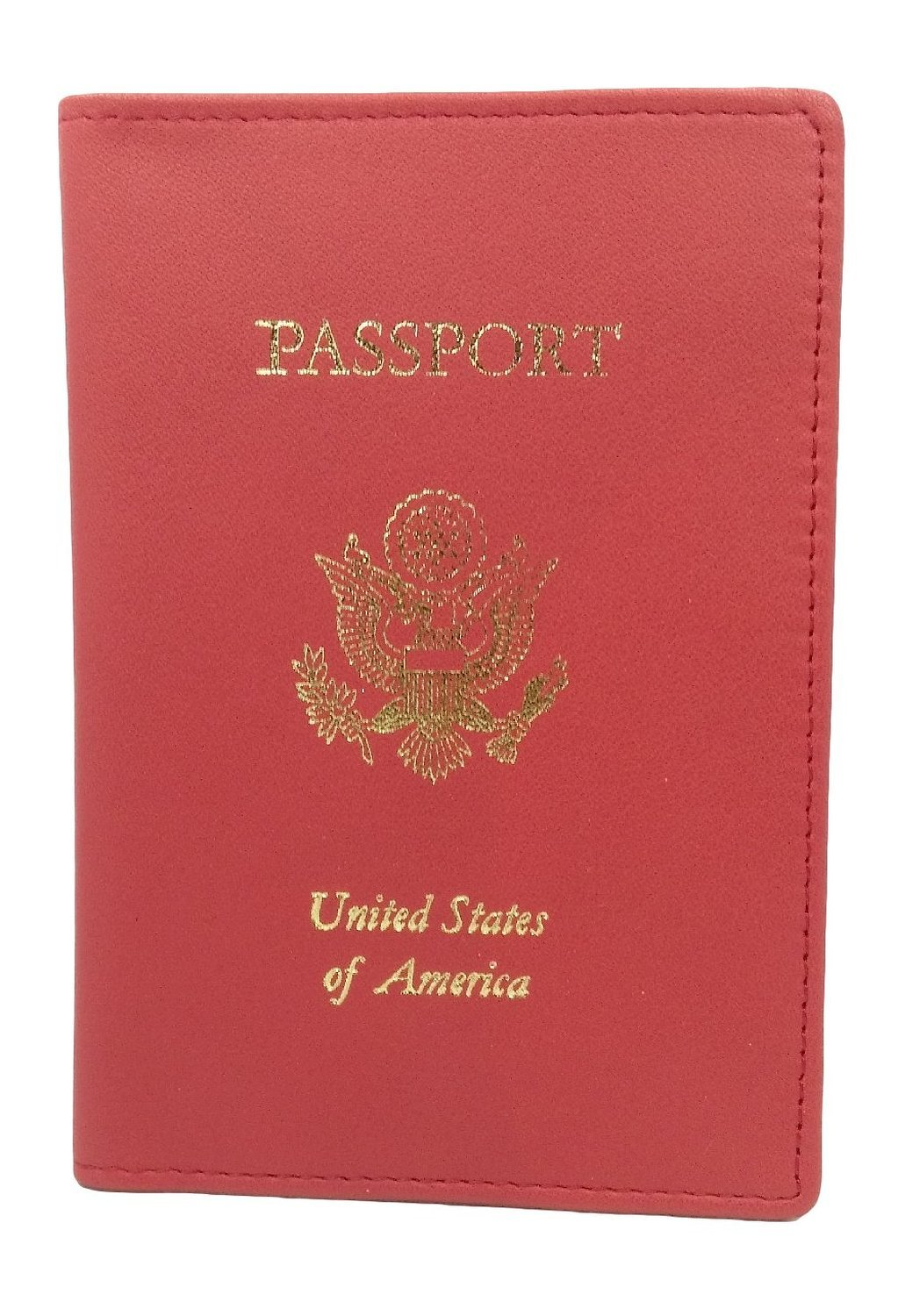 Royce Foil Stamped Leather RFID - blocking Passport Jacket (One Size, Red)