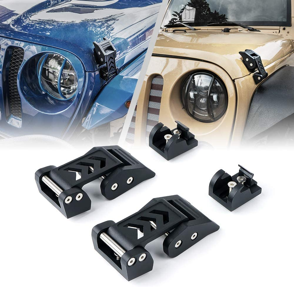 with Lock Black Stainless Steel Latches Locking Hood Catch Kit for 2018-2020 Jeep Wrangler JK JL