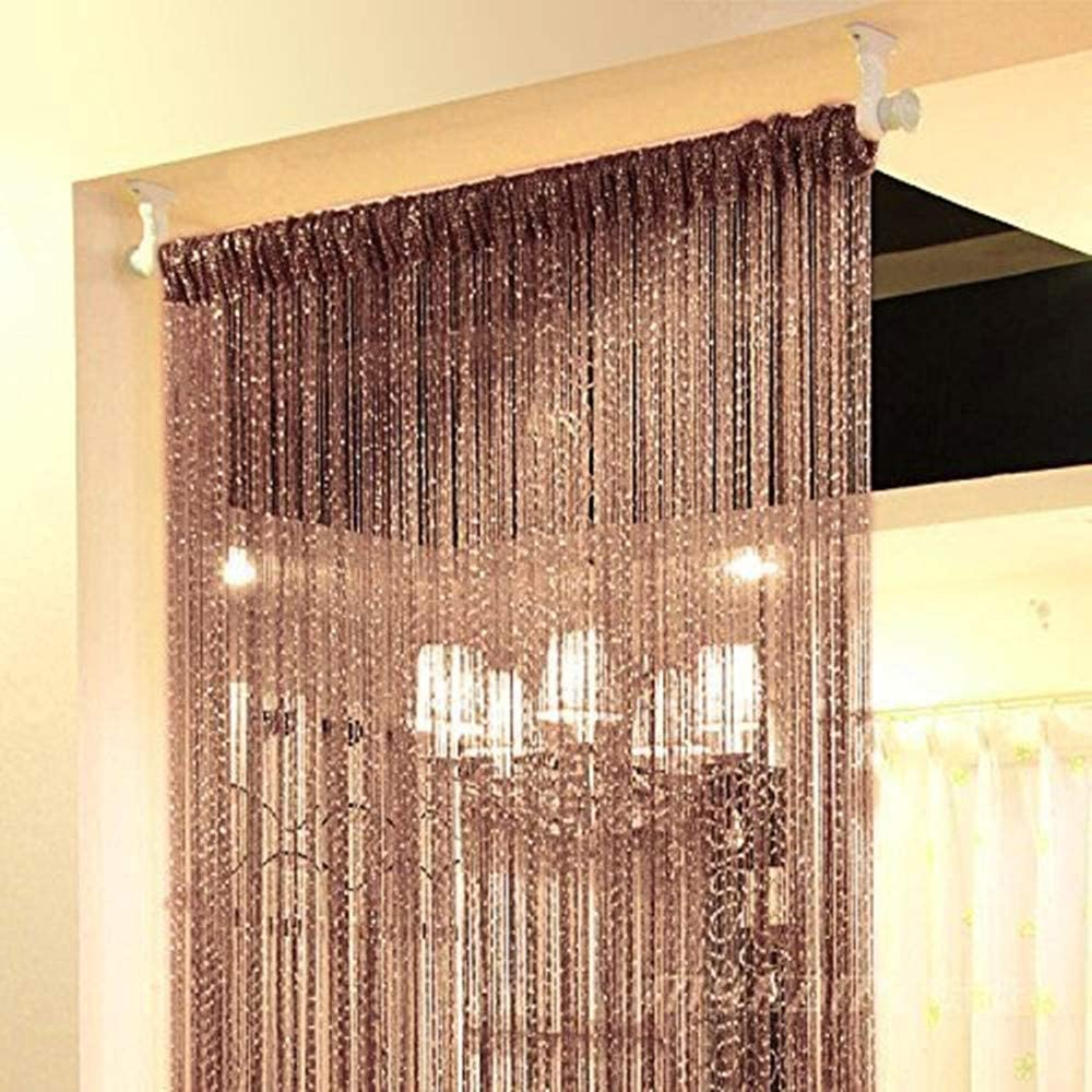 Topixdeals Rare Flat Silver Ribbon Door String Curtain Thread Fringe Window Panel Room Divider Cute Strip Tassel Party Events (2 Pack, Dark-Brown)