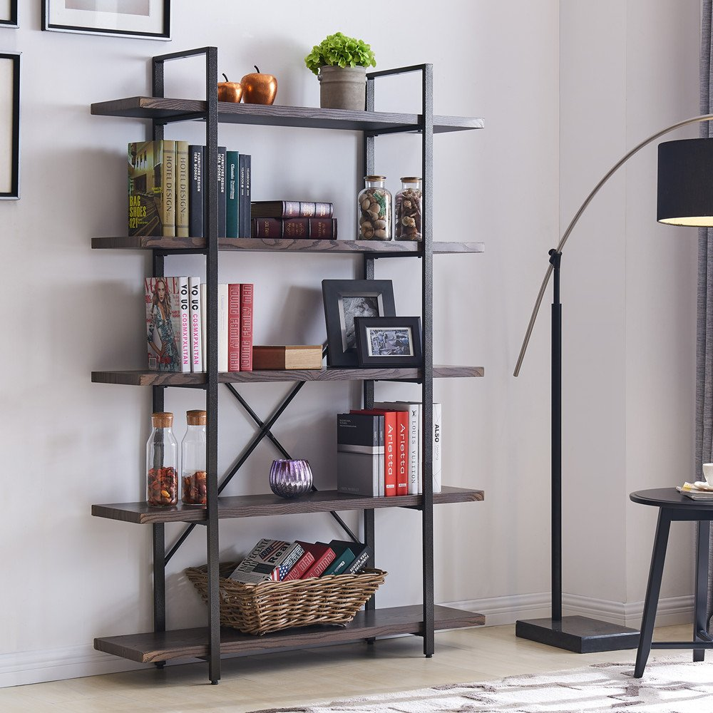 "Homissue 5-Shelf Industrial Bookshelf and Bookcase, Rustic Wood and Metal Bookcases Furniture, 70.0""H x 47.3""W x 12.7""D, Dark Gray"