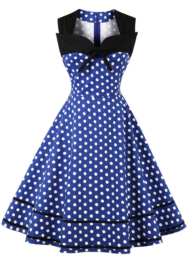 Nihsatin Women's Sleeveless Polka Dot 1950s Vintage Style Cocktail Party Dress by Nihsatin