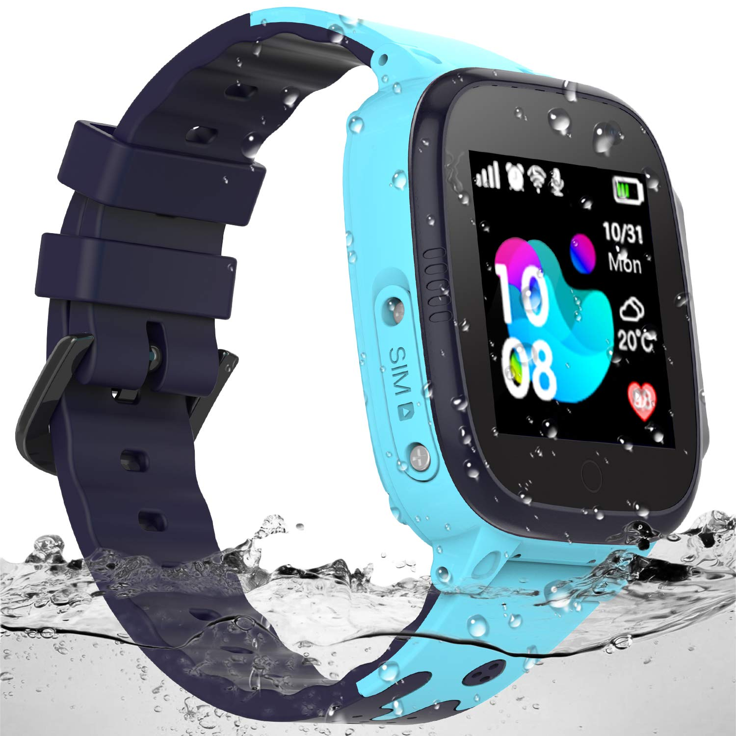 SZBXD Kids Waterproof Smart Watch - Boys & Girls Smartwatch Phone with Camera Games Touch Screen SOS Call Voice Chatting Christmas Birthday Gift (Blue) by SZBXD