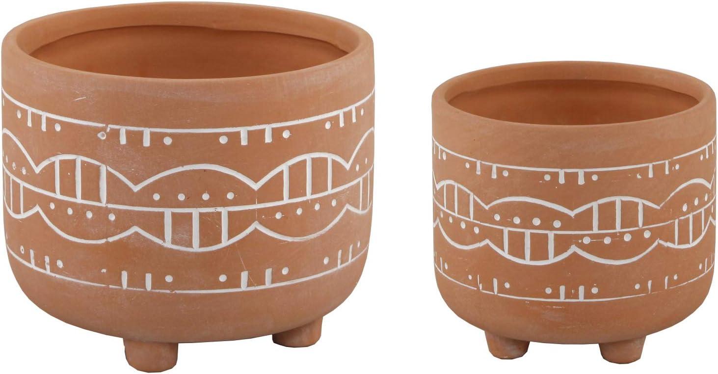 Amazon Com Flora Bunda 6 In 4 75 In Navajo Clay Ceramic Footed Planter Set Of 2 Orange Kitchen Dining