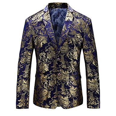 VAGUE STAR Mens Single Breast Party Print Velvet 2 Button Blazer 7772