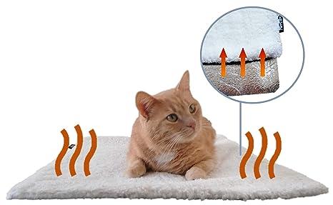 PurrCave Manta autoadhesiva Gatos y Perros con Puntos de Goma Antideslizantes - Esterilla térmica Especialmente Suave