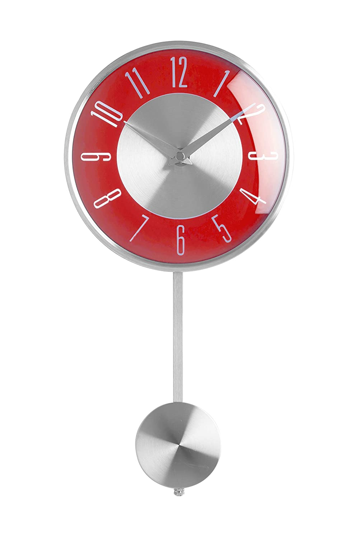 Premier Housewares Pendulum Wall Clock, Red 2200306 2200306_Red