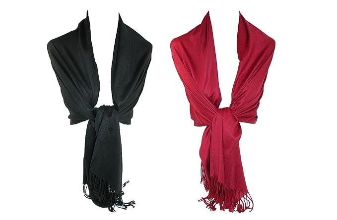b4795b885f8 CTM Women's Pashmina Shawl Wrap Scarf (Pack of 2)