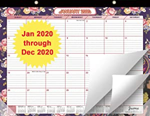 "Beautiful 2020 Desk Calendar 15"" x 11.5"" - 12 Month Desktop/Wall Calendar with Note Section for Easy Planning, Thick Paper Perfect for Planning and Organizing for Home or Office"