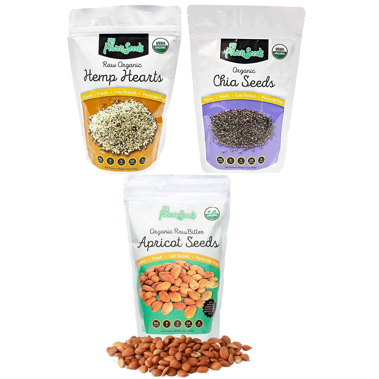 Certified Organic Super bundle by My Power Seeds Hemp Hearts, Chia Seeds, Apricot Seeds 100% Non GMO, Vegan