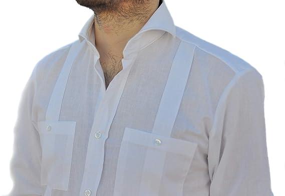 Camisa Guayabera Caballero Blanca (M): Amazon.es: Ropa y accesorios