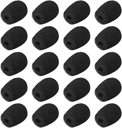 uxcell 20PCS Foam Mic Cover Headset Microphone Windscreen Shield Protection Black 12mm Length for Headset Lapel Lavalier