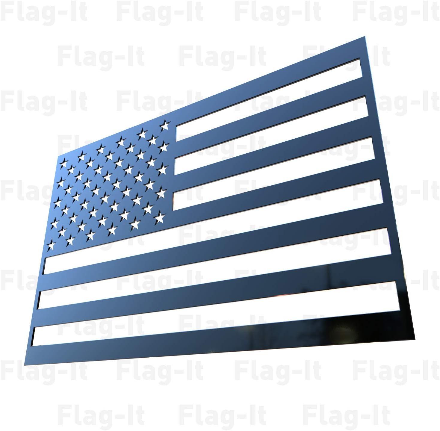 Flag-It Car Truck Emblem Stainless Steel Black USA Black
