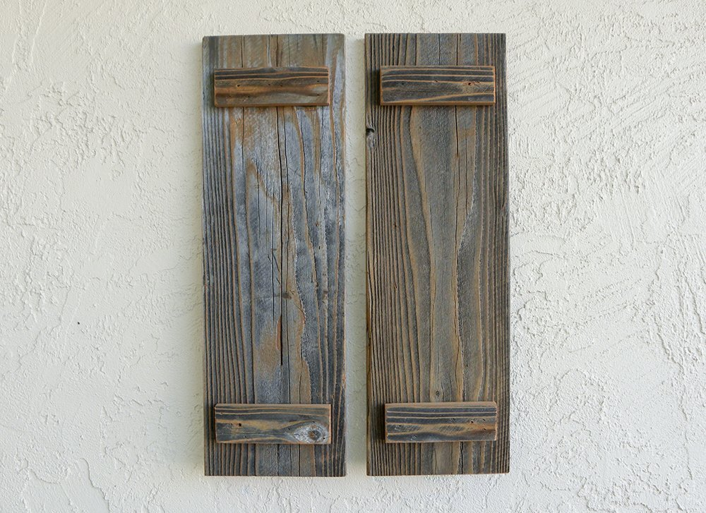 Rustic Reclaimed Wood Shutters (Set of 2). 30x7.5in