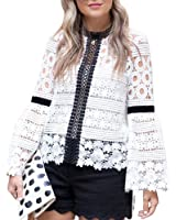 Chicwish Women's Contrast White and Black Floral Crochet Lace Blouse Top with Bell Sleeves