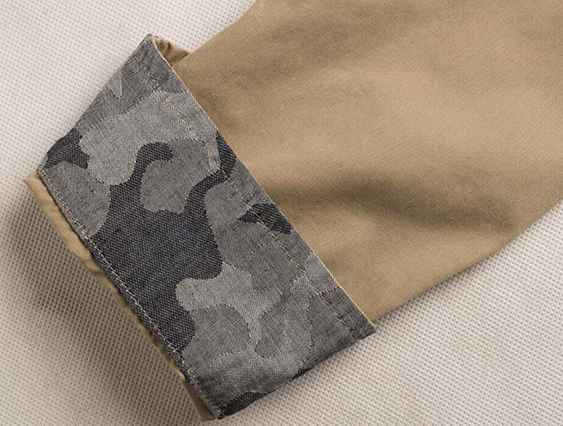 Spirio Mens Casual Cotton Camo Stitching Military Army Button Front Shirts