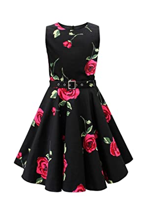 59e2ddc3f7d0 BlackButterfly Kids 'Audrey' Vintage Infinity 50's Girls Dress (Large Red  Roses, ...