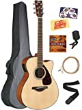 Yamaha FSX800C Small Body Acoustic-Electric Guitar Bundle with Gig Bag, Tuner, Strap, Instructional DVD, Strings, Picks, and Polishing Cloth - Natural