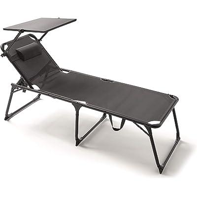 KitGarden - Tumbona Plegable Multiposiciones Playa/Camping, ExtraGrande XL, Gris Antracita, Relax