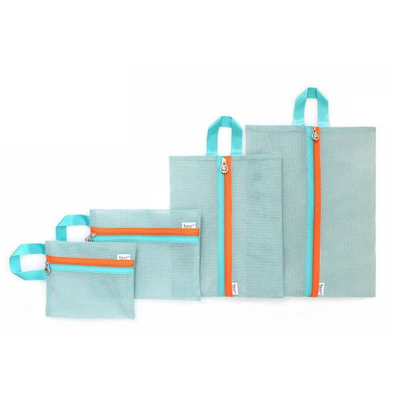 Sunreek 4 Pcs/set Portable Mesh Tote Bag Zipper Pouch Packable Toiletry Tote Underwear Organizer Storage Bag (Blue)