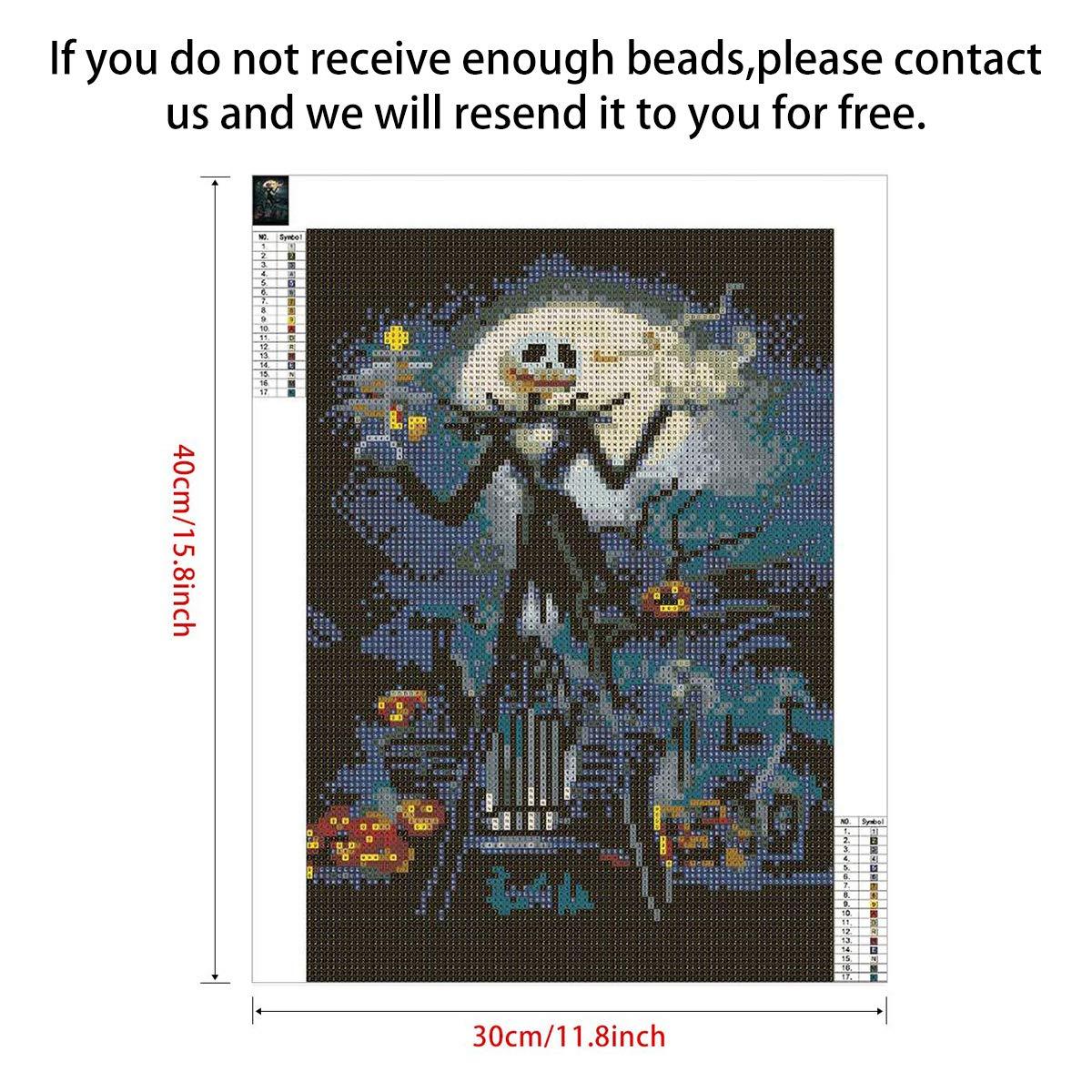 Jack Sally Halloween Skull KISSBUTY DIY Diamond Rhinestone Painting Kits for Adults and Beginner Embroidery Arts Craft Home Decor 2 Pack 5D Full Drill Diamond Painting Kit 15.8 X 11.8 Inch