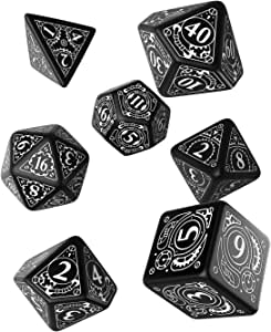 Q Workshop Steampunk Black & White RPG Dice Set 7 Polyhedral ...