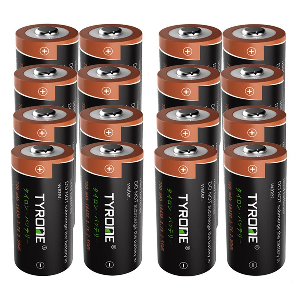 RCR123A Rechargeable Batteries for Arlo Wireless Cameras [ Security Cameras ][ 16 Pack 3.7V Li-ion CR123A ], Arlo Batteries Rechargeable, Tyrone Rechargeable 16340 Batteries
