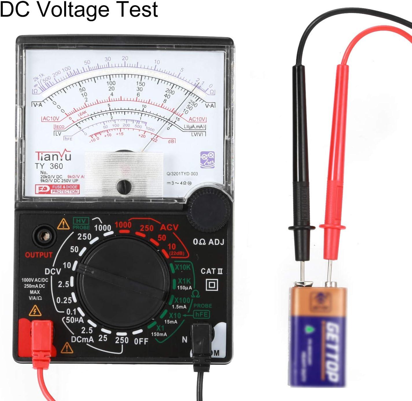 Ty-360 Puntero Mult/ímetro Volt/ímetro de CA//CC Resistencia del amper/ímetro Diodo de Verdadero Valor eficaz Negro
