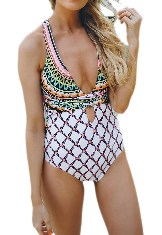 54a0626add5012 Women One Piece Swimsuit Deep V-Neck Pattern Swimwear Cross-Back High Cut  Monokini Bathing Suits at Amazon Women's Clothing store: