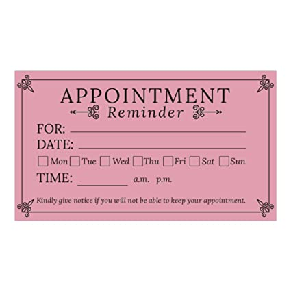 Pink Appointment Reminder Cards Business Card Size