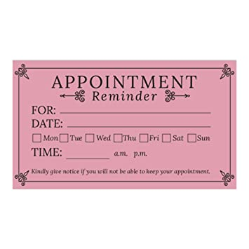 Amazon Pink Appointment Reminder Cards Business Card Size