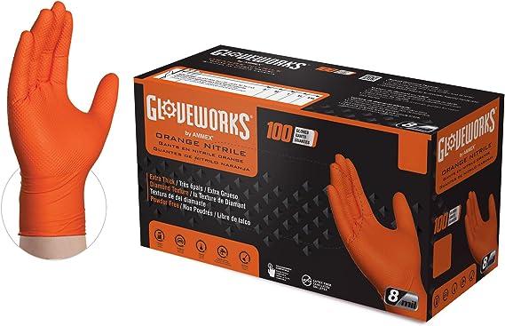 GLOVEWORKS HD Industrial Orange Nitrile Gloves with Raised Diamond Texture Grip, Box of 100, 8 Mil, Size Medium, Latex Free, Powder Free, Textured, Disposable, Food Safe, GWON44100BX