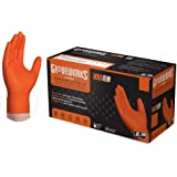 GLOVEWORKS HD Industrial Orange Nitrile Gloves with Raised Diamond Texture Grip, Box of 100, 8 Mil, Size X-Large, Latex Free,