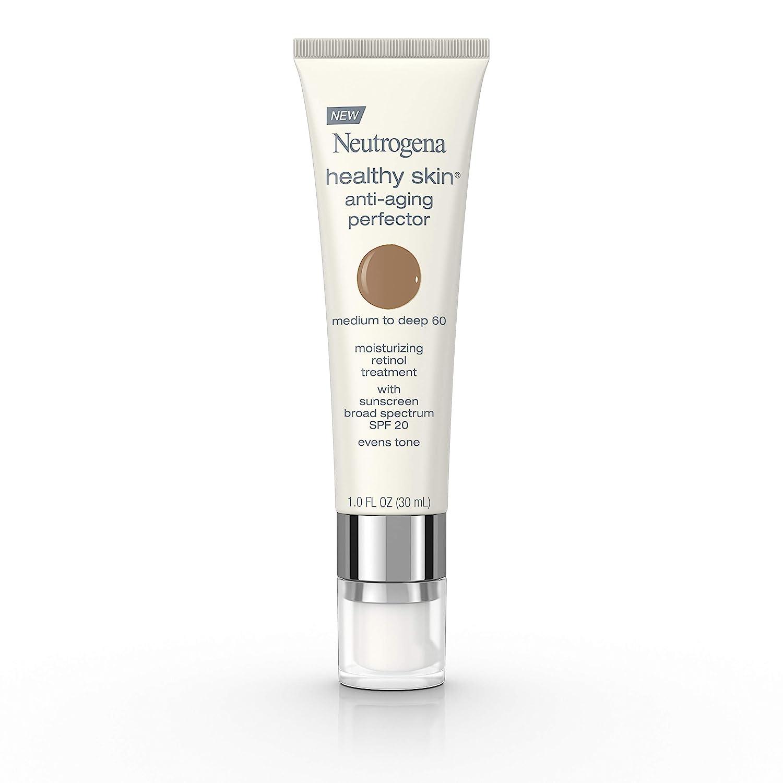 Neutrogena Healthy Skin Anti-Aging Perfector Tinted Facial Moisturizer and Retinol Treatment with Broad Spectrum SPF 20 Sunscreen with Titanium Dioxide, 60 Medium to Deep, 1 fl. oz