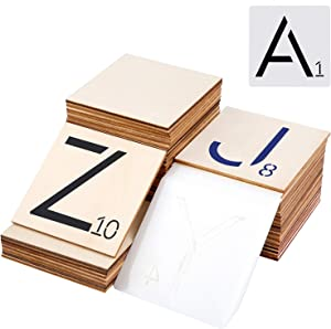 Ruisita 80 Pieces 3 x 3 Inch Unfinished Blank Wood Pieces with 26 Pieces Letters Stencils for Home Décor, DIY Projects