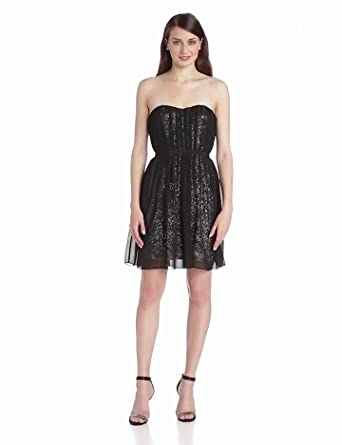 26fd4fceead ERIN erin fetherston Women s Strapless Chiffon Dress With Sequin Underlay
