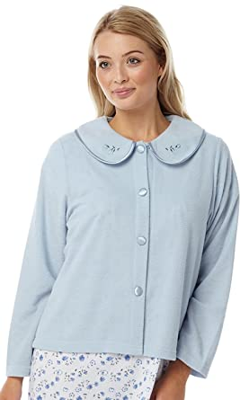 Marlon Ladies Fleece Bed Jacket Cardigan Short Gown Size UK 10 To 26 Button  Front ( 4a721e3fb