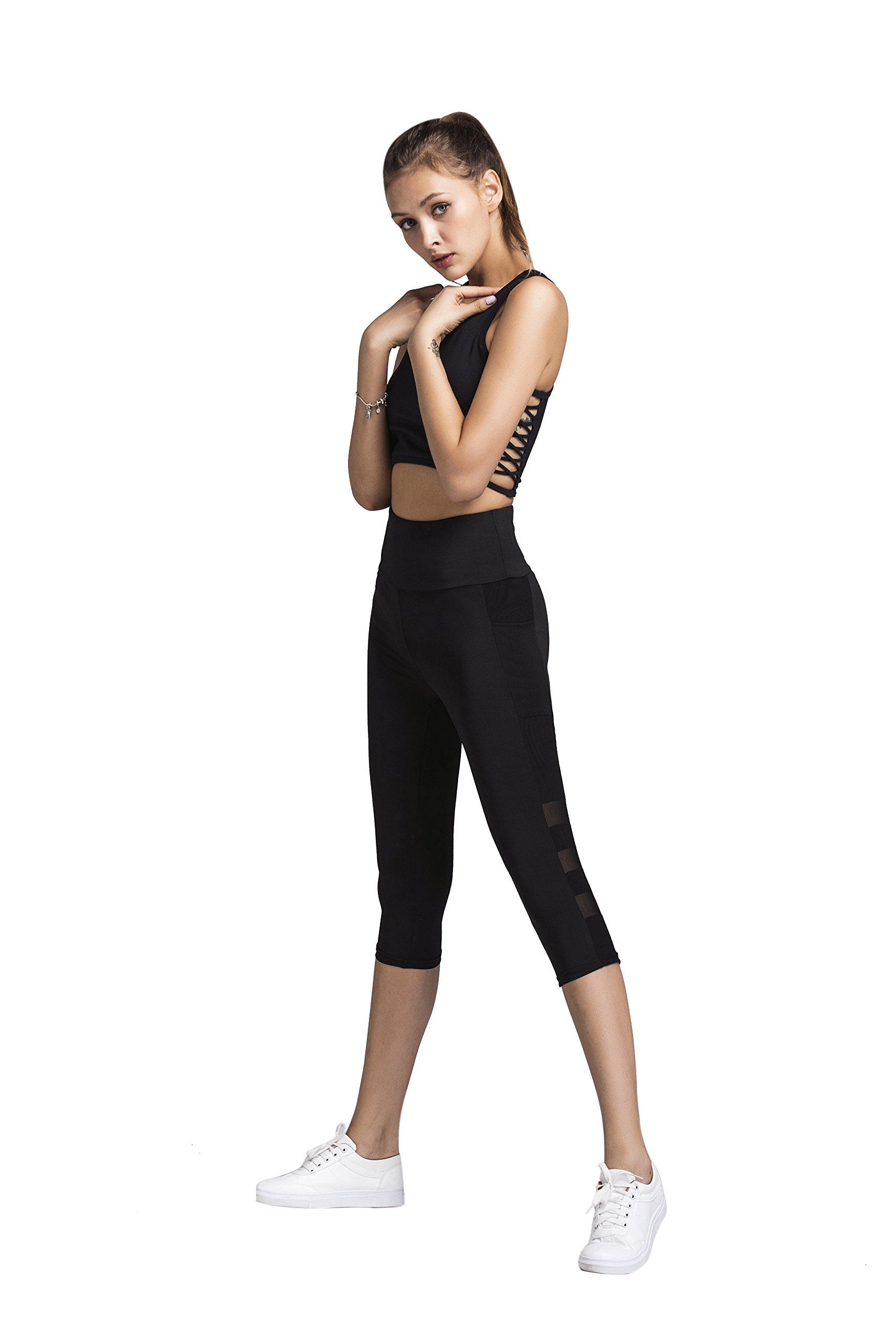 Gymsupply Women\'s Mesh Yoga Capri Pants Sport Tights Workout Running Leggings With Side Pocket Y22(Medium)