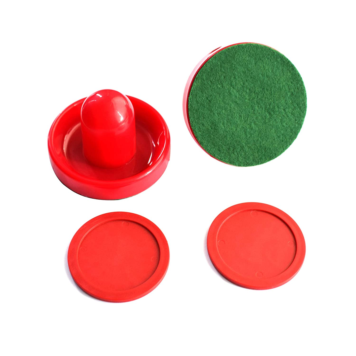 Hathaway Chip-Resistant Air Hockey Accessory Set with 2 Felt-Bottom Strikers and Pucks