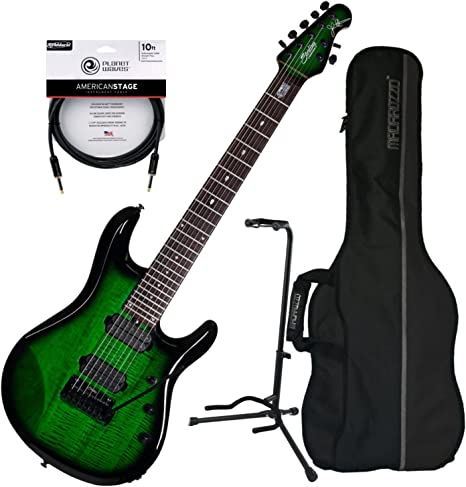 Sterling jp70 (7 cuerdas Guitarra eléctrica transparente verde ...