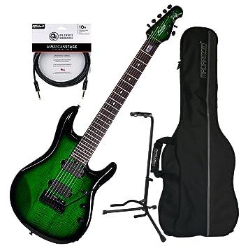 Sterling jp70 (7 cuerdas Guitarra eléctrica transparente verde Burst W/funda, soporte,