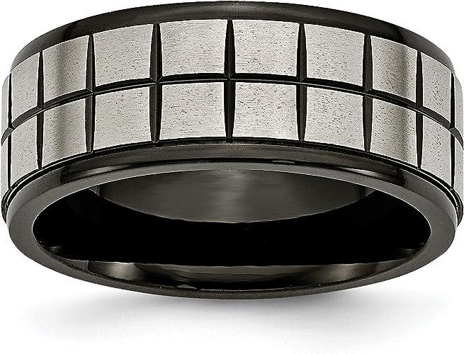 Titanium 9mm Black Ip-plated Brushed /& Polished Band Box