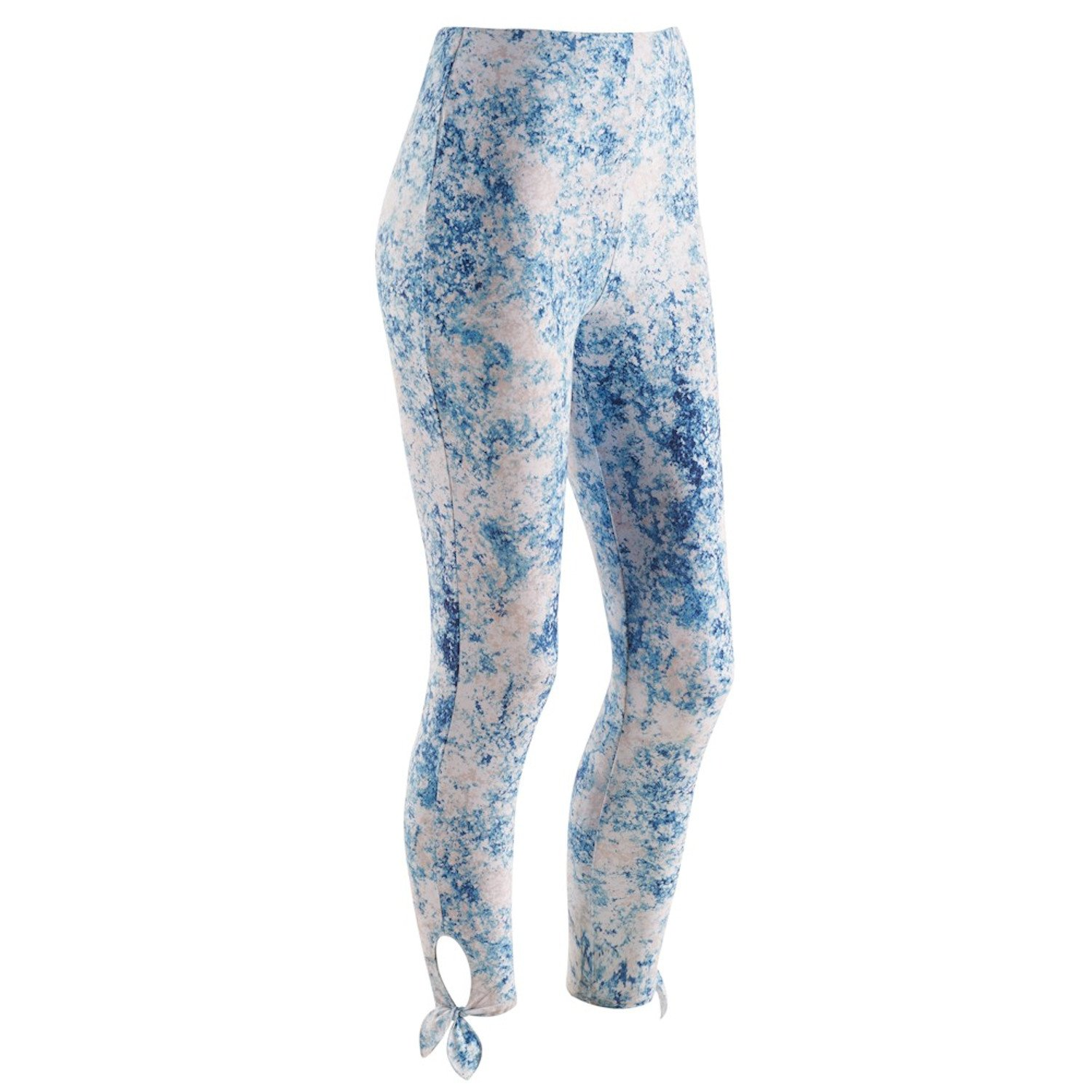 Women's Leggings- Tie-Ankle Support Waist Cropped Pants - Mineral Cloud - Xl