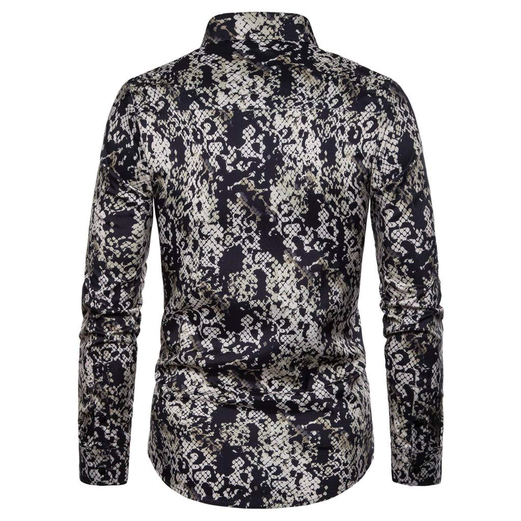 MmNote Mens Senior Aristocratic Print All-Over Graphics Button Down Premium Classic Long Sleeve Shirt Slim-Fit Shirts