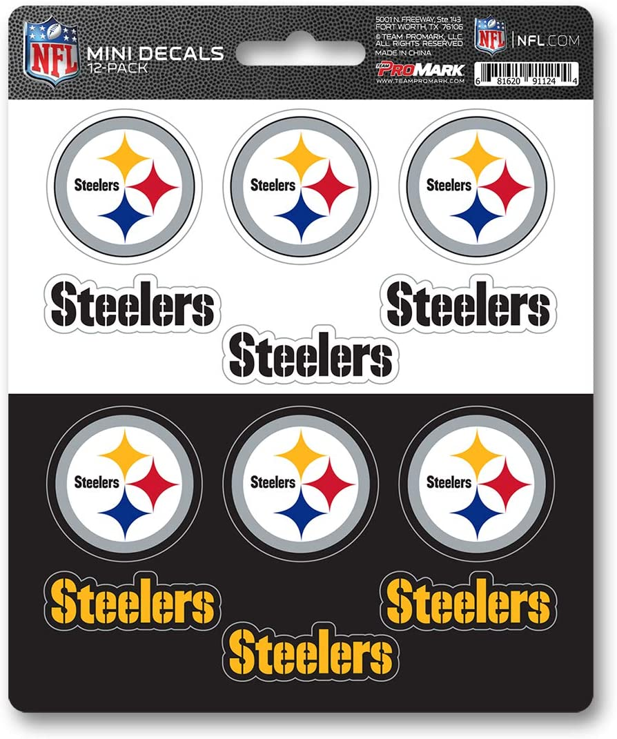 FANMATS NFL Pittsburgh Steelers DecalDecal Set Mini 12 Pack, Team Colors, One Size