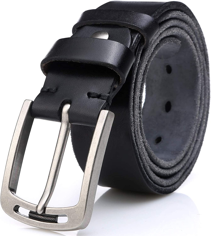 Men's 100% Italian Cow Leather Belt Men With Anti Scratch