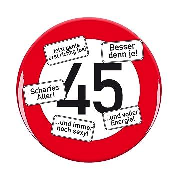 Herz Heim Riesen Verkehrsschild Button Zum 45 Geburtstag Amazon