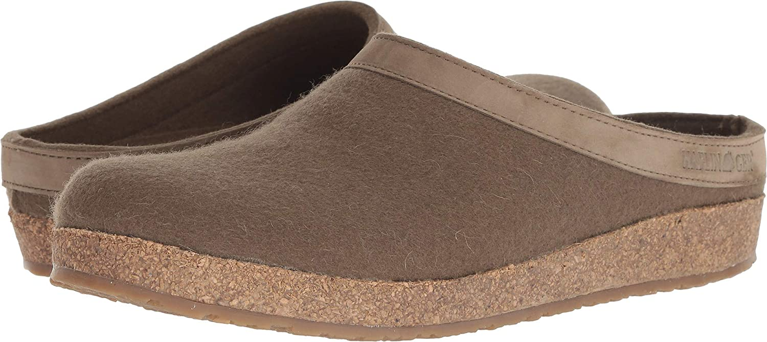 Earth 1 Haflinger Unisex GZL Leather Trim Grizzly Clog