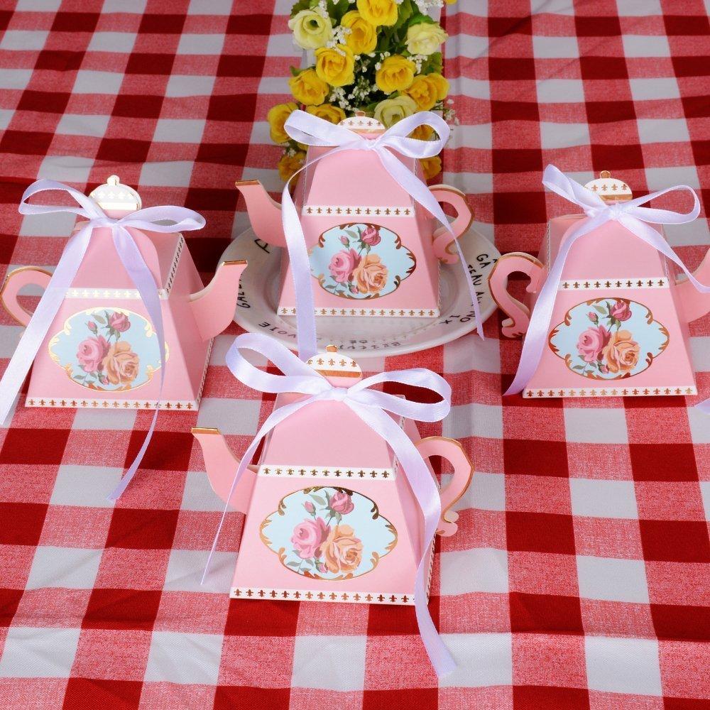 Amazon.com: E-Goal 50PCS/Pack Mini Teapot Shape Wedding Favors Candy ...
